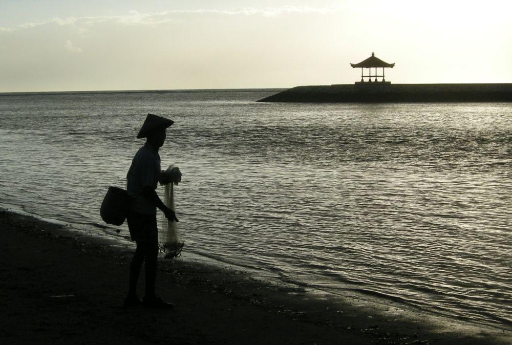 Photo in Sea and Sand #bali #beach #net fisherman #silhouette #indonesia