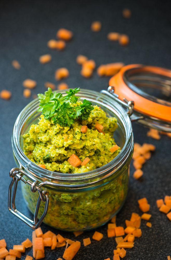 Photo in Food #green #yellow #black #herbs #vegetables #pesto #sauce #jar #orange #parsley