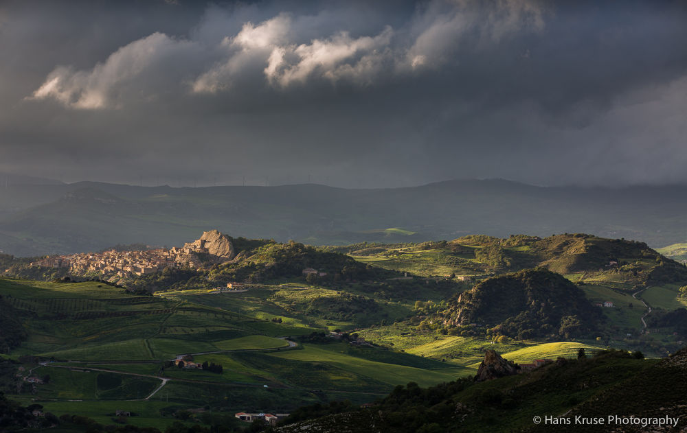 Photo in Landscape #italy #dramatic #light #afternoon #village #clouds