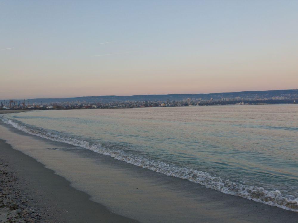 Photo in Sea and Sand #black #sea #seascape #sea #sky #sand #city #cityscape #sunset #varna #panorama