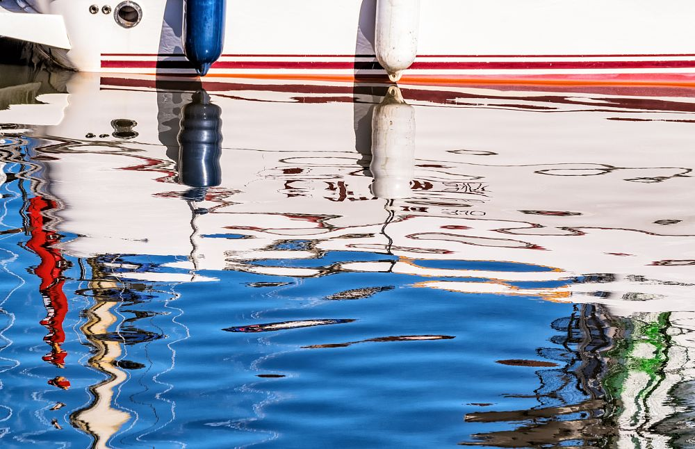 Photo in Abstract #boat #water #reflection #sunderland #colour #abstract #pentax #sigma #telephoto #bright #vibrant #yacht