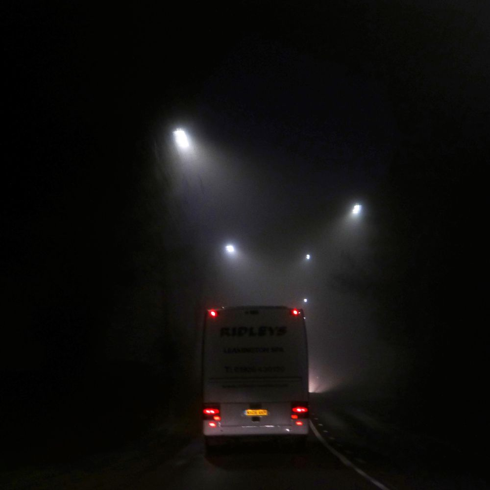 Photo in Random #fog #night driving #bus #oncoming traffic #car light #rear lights #dimmed road lights #narrow road #nr coventry #warwickshire #road markings #trees #square format no crop no edit