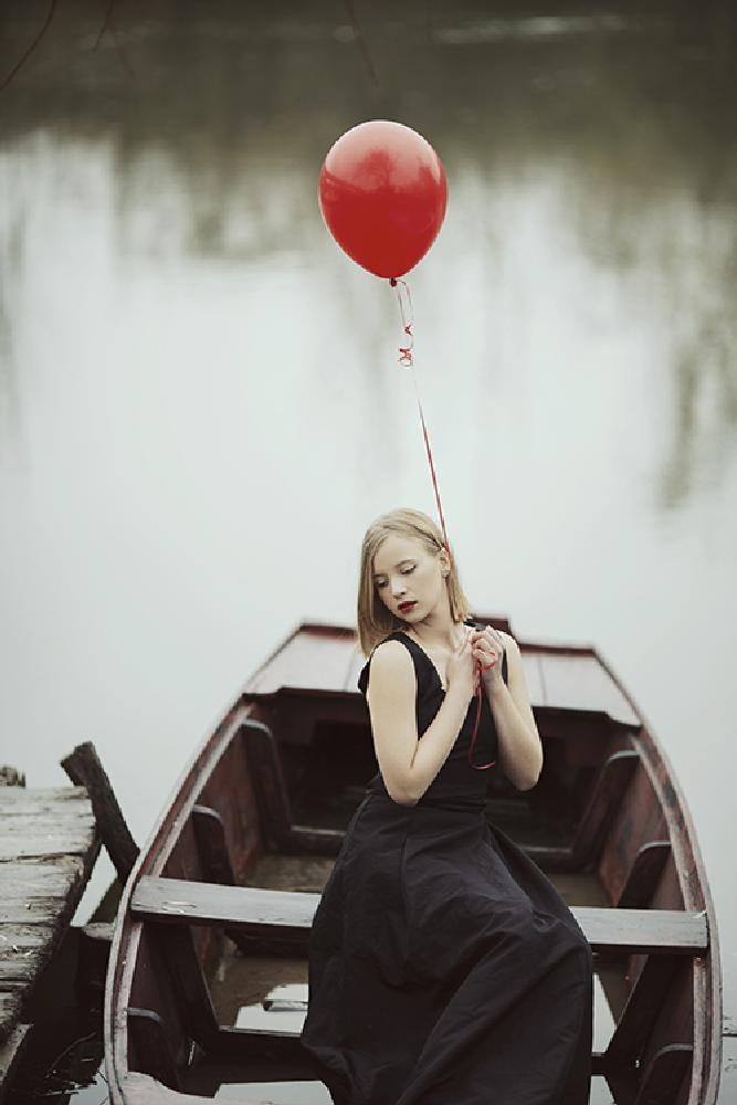 Photo in People #sailing #boat #girl #woman #balloon