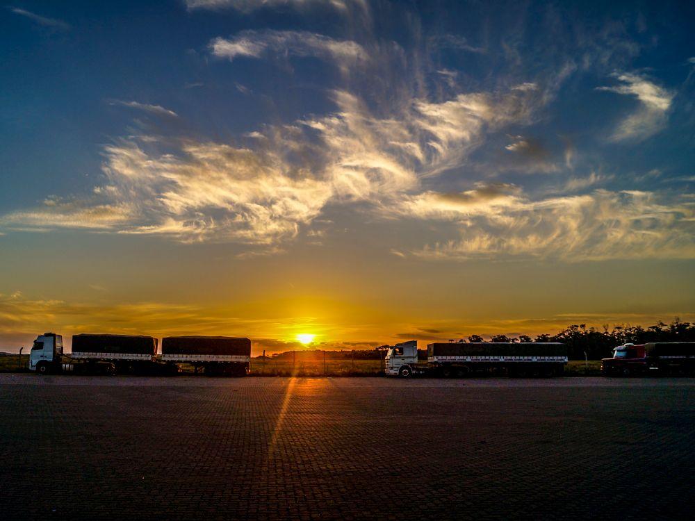Photo in Random #caminhões #carretas #carga #transporte #por do sol #sunset