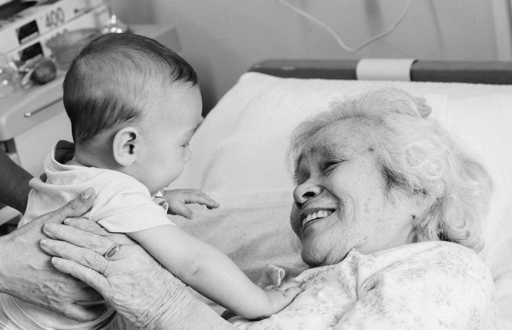 Photo in Family #family #tender moments #great grandma #black and white