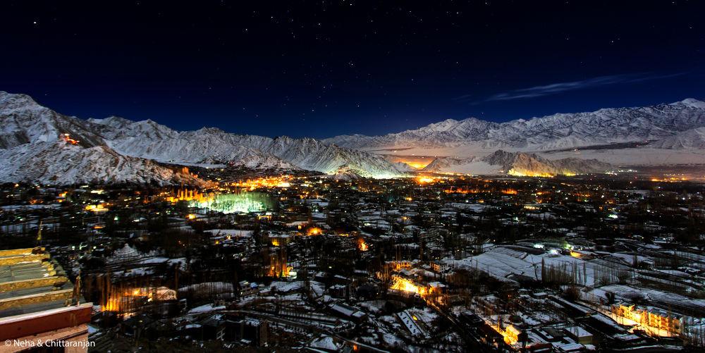 Photo in Landscape #leh #ladakh #jammu & kashmir #india #winter #himalayas #night photography #cityscape #landscapes #chadar trek