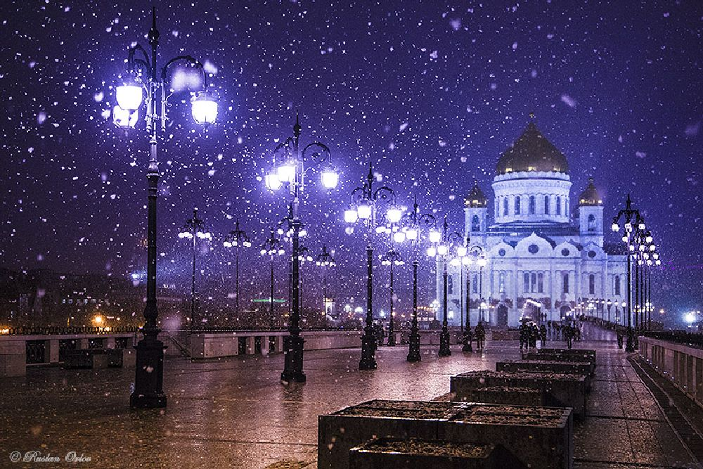 Photo in Cityscape #winter #russia #moscow #snow #snowfall #night #wintercontest