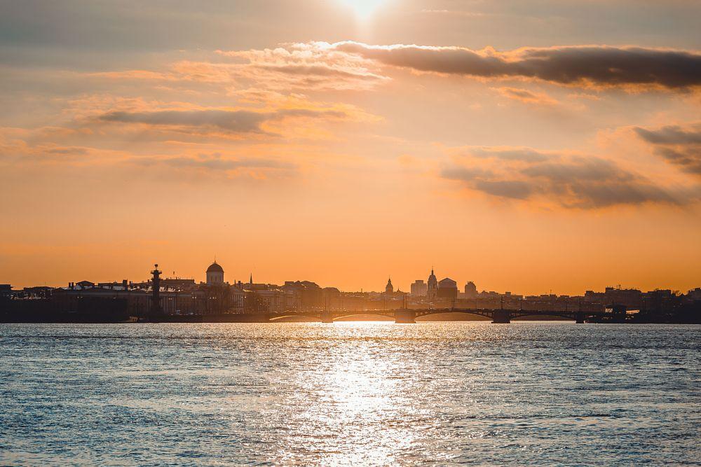 Photo in Cityscape #saint-petersburg #sunset #landscape #cityscape #river #clouds #sun #neva