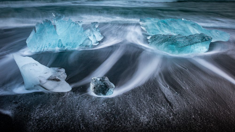Photo in Nature #jokulsarlon #ice beach #iceland #long exposure #blurred water #black sand