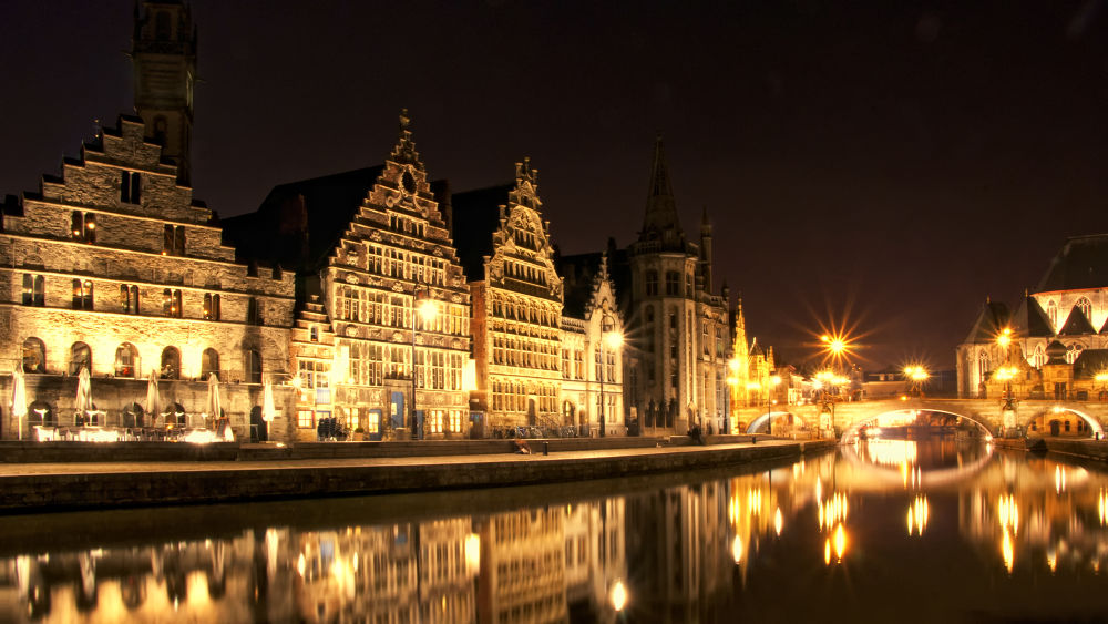 Photo in Architecture #lights #city #water #reflection #night #cityscape #belgium #architecture #gent
