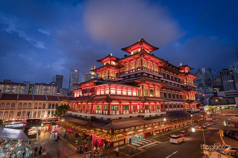Photo in Travel #singapore #chinatown #cityscape #temple #buddhism #religion #building #architecture #travel #landscape #night #long exposure #sunset #myrrs
