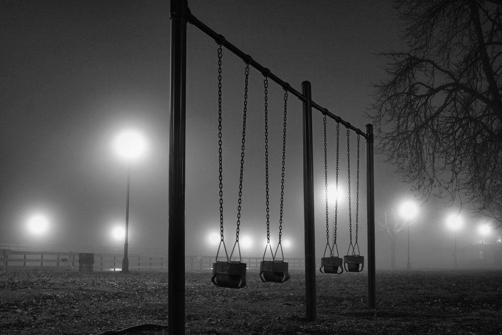 Photo in Black and White #fog #lights #park