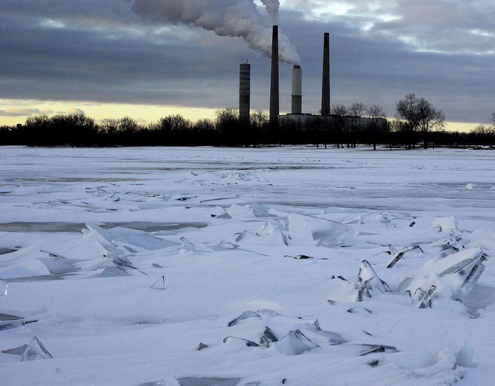 Photo in Random #ice shards #power plant #lake erie #michigan