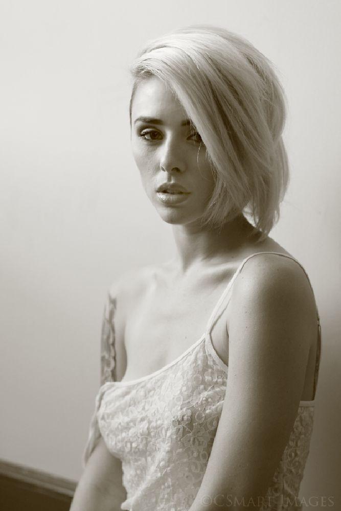 Photo in Portrait #alsyha #nett #alysha nett #lace #bw #sepia #fashion #tattoo #blonde #sheer