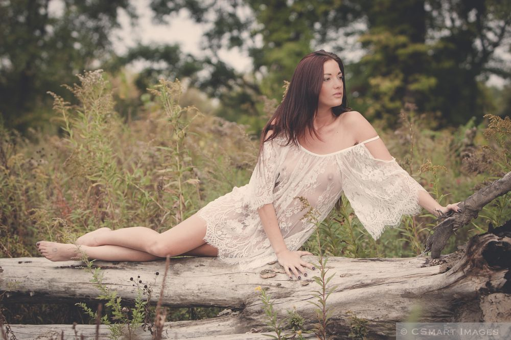 Photo in Fashion #mac #mackenzie #sheer #dress #lace #outdoors #tree #fall #autumn #white #brunette #fashion #glamour