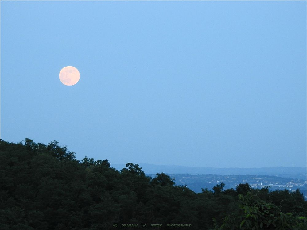 Photo in Astrophotography #full moon over #the town of topola #astrophotography