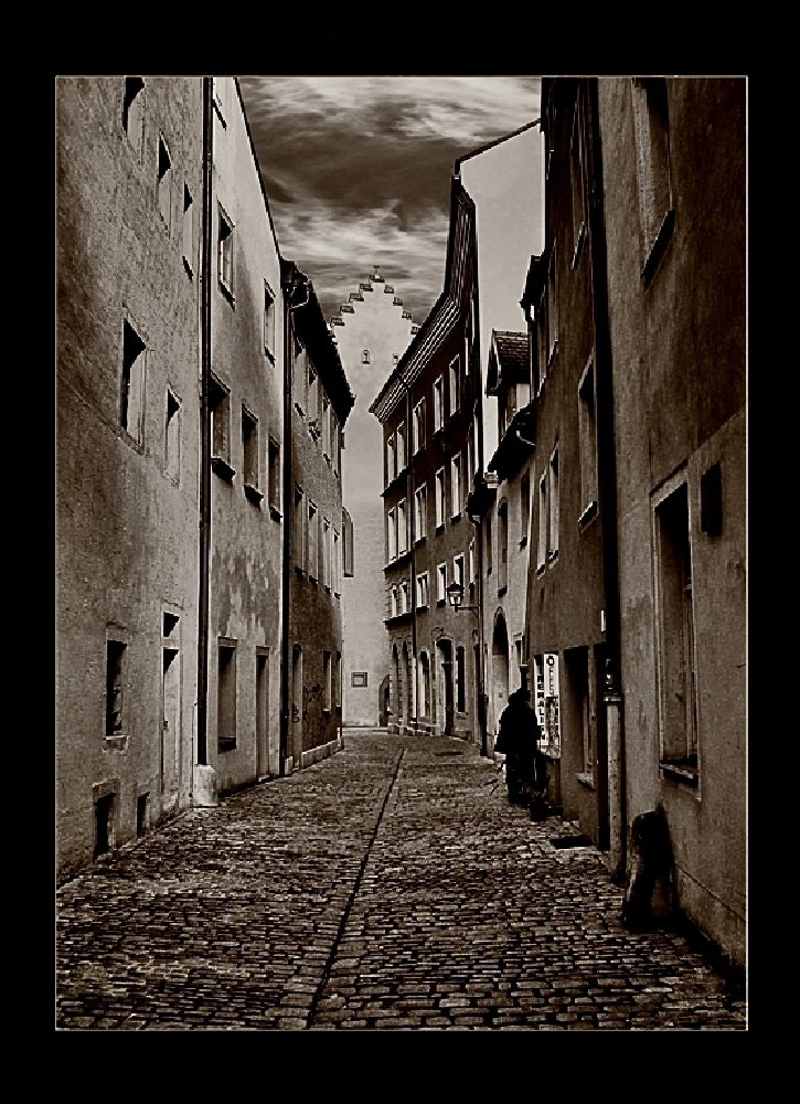 Photo in Black and White #prague #alley #street person #window shopping #sepia