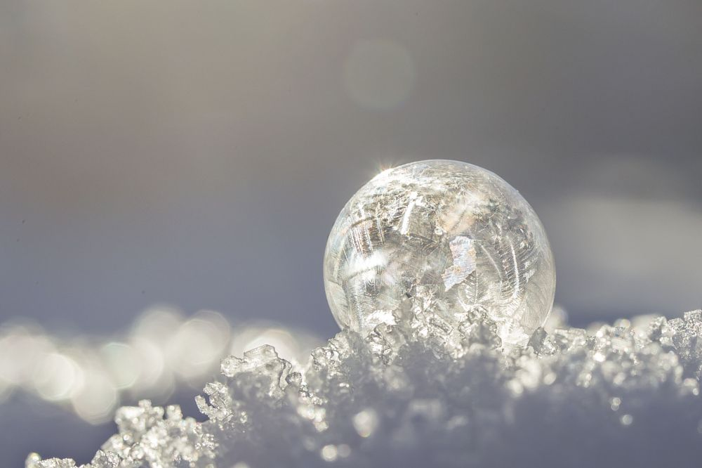Photo in Macro #frozen #soapbubble #winter #snow #fun #macro