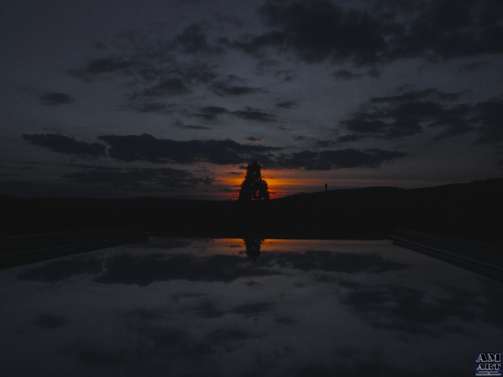 Photo in Nature #skylight #mirror #sunset #window #summer #tree #clouds