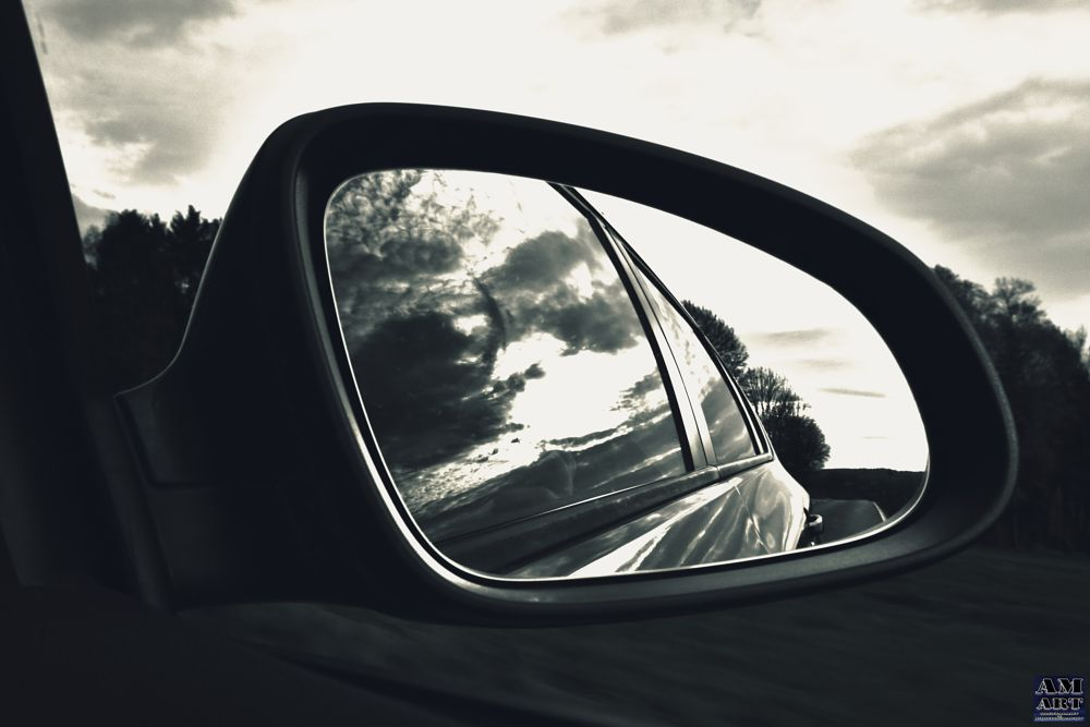 Photo in Abstract #sun #clouds #mirror #car #reflection #speed #time