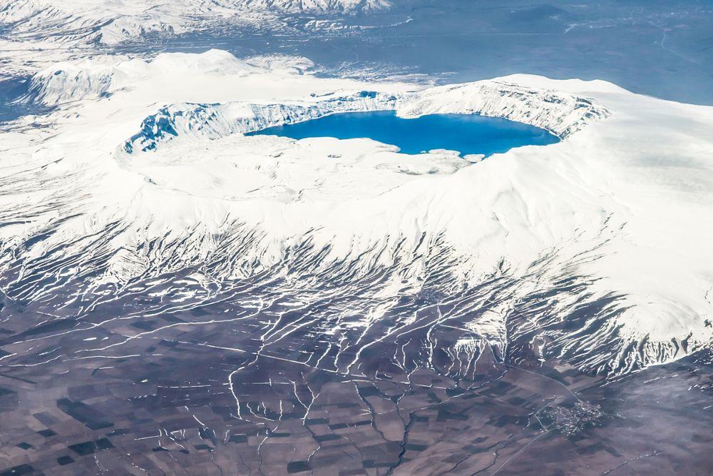 Photo in Landscape #volcano #snow #white #turkey #winter #travel #aerial #quirtmair