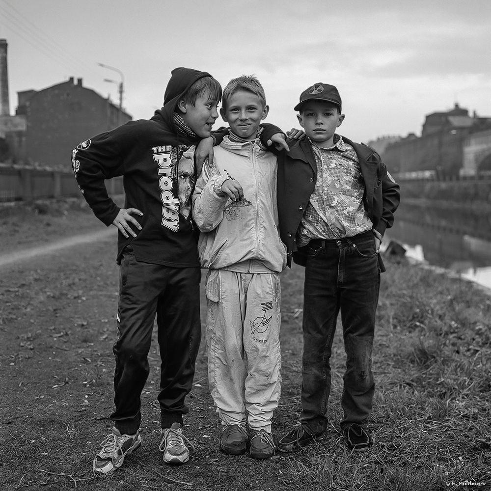 Photo in People #boy #children #kids #childhood #friends #fisherman #city #black and white #b&w