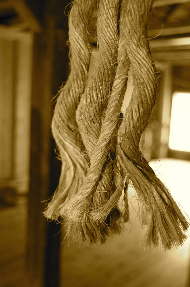 Photo in Abstract #rope #frayed #column #storehouse