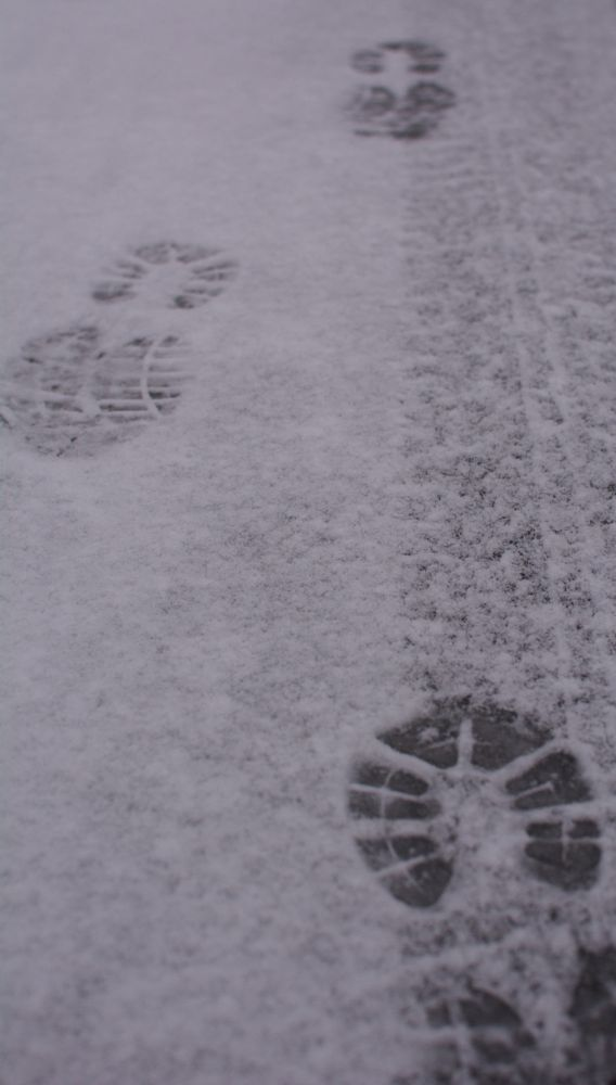 Photo in Abstract #footprints #snow #tracks