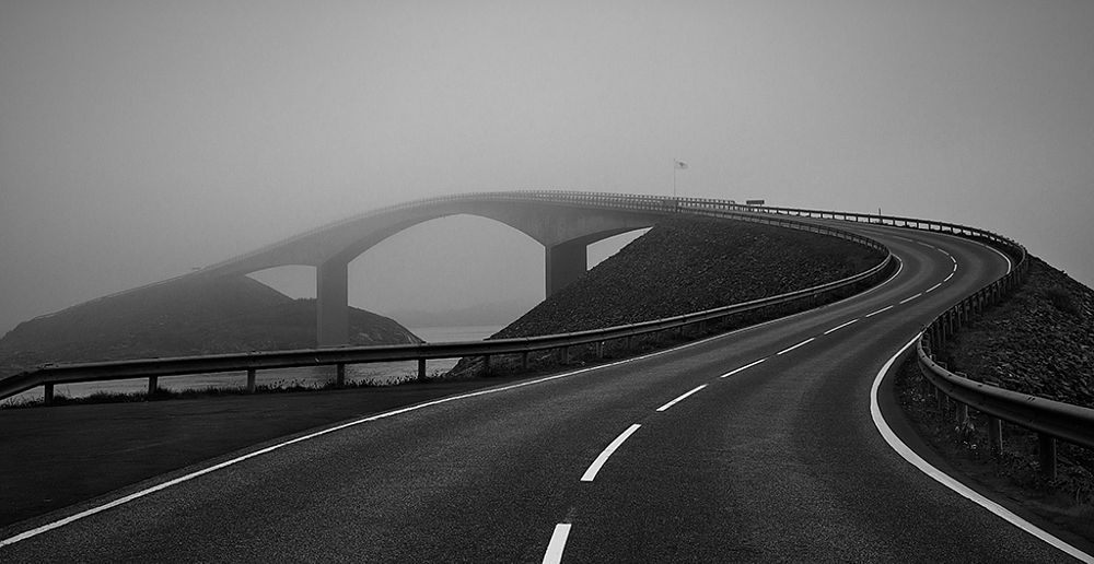 Photo in Black and White #atlantic road norway bridge