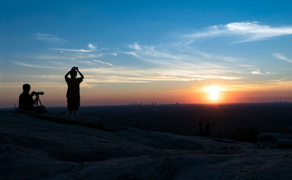Photo in Landscape #father #son #sunset #mountain #silhouette #hobbies #teaching #family #colorful #cameras