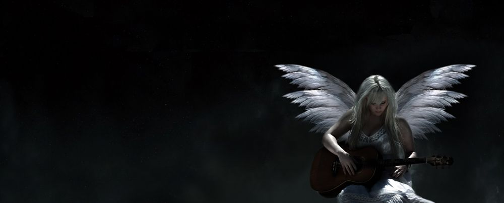 Photo in Abstract #angel #blonde #guitar #wings #white #woman #girl #female #person #dark