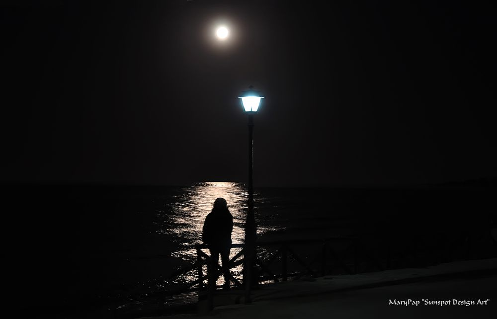 Photo in Black and White #foollmoon #black and white #sea #people #fine art #sea and moon #nature