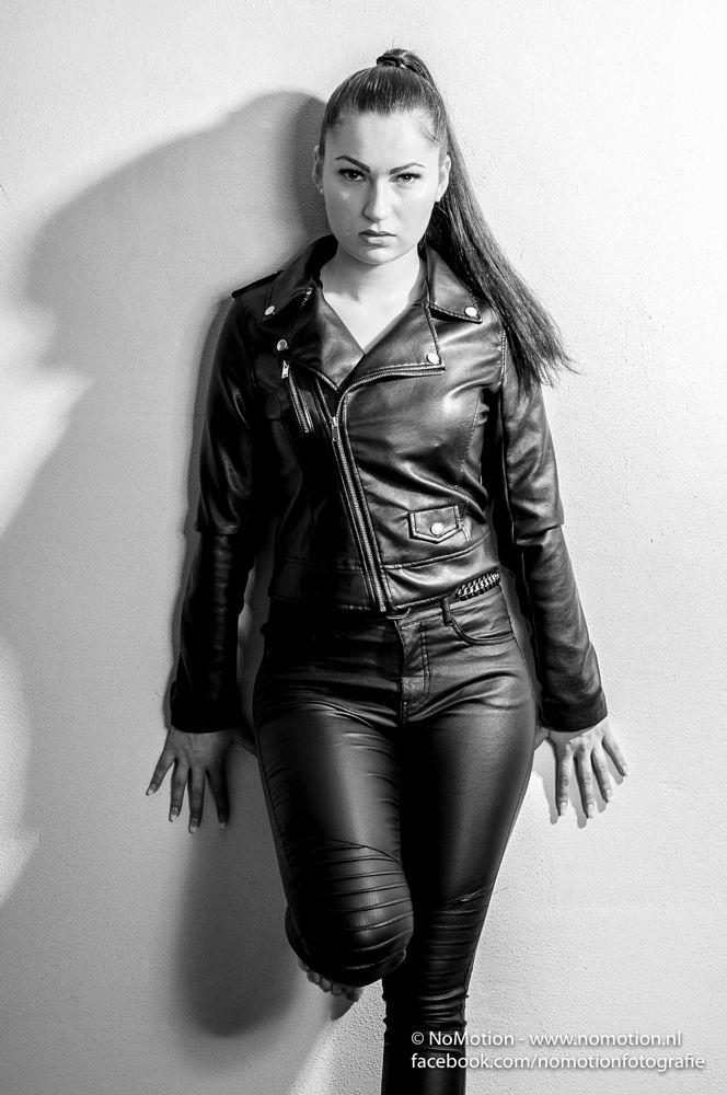 Photo in Portrait #studio #fotoshoot #leather #black and white