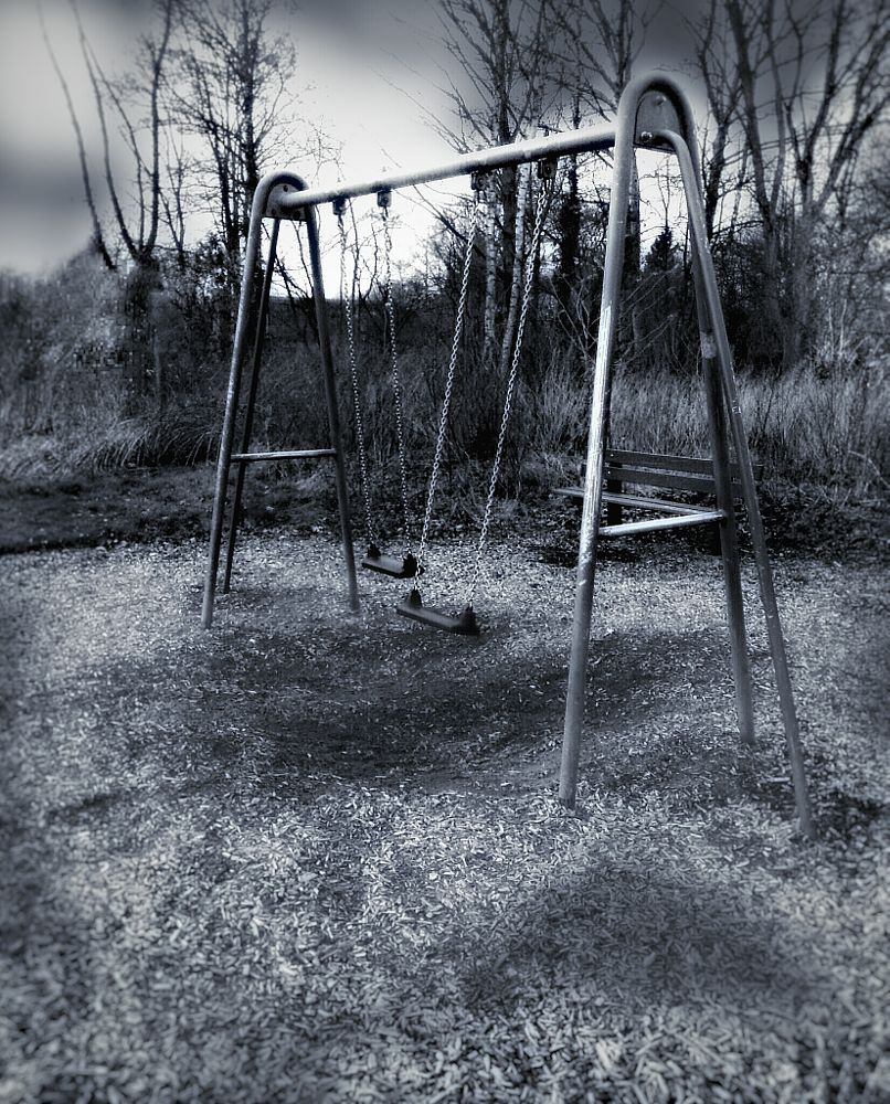 Photo in Black and White #photography #playground #spooky #blackandwhite #atmosphere