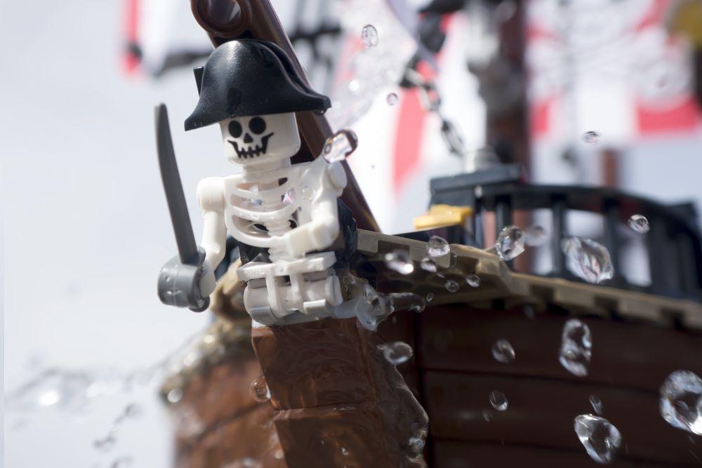 Photo in Sea and Sand #lego #toy #macro #water #pirate #ship #skeleton #splash