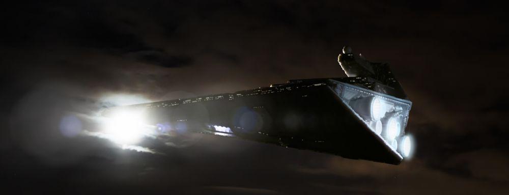 Photo in Random #star wars #spaceship #star destroyer #sky #moon #night #macro #scale model #miniature