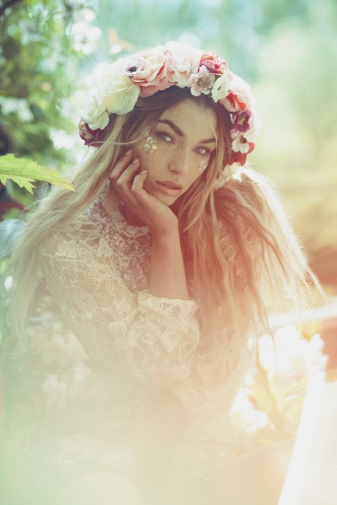 Photo in Portrait #bohemian #pastel #faerie #fantasy #flowercrown #ambient light #gypsy #fashion #fairytale #ethereal #whimsical #wonderland #magic #storybook #boho #sequin #glitter #make believe #fae #lace #floral #rural #garden #nature #eden