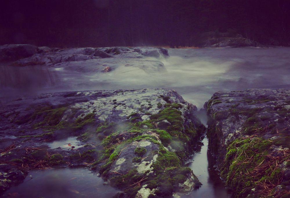 Photo in Random #mylake cliffs moss waves r