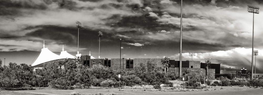 Photo in Random #pano #panoramic #panorama #blackandwhitephotography #blackandwhite #bnw #bw #elpaso #texas #epphotography #cohenstadium #urbandecay #trees #desertsouthwest #desertvegetation #baseballstadium