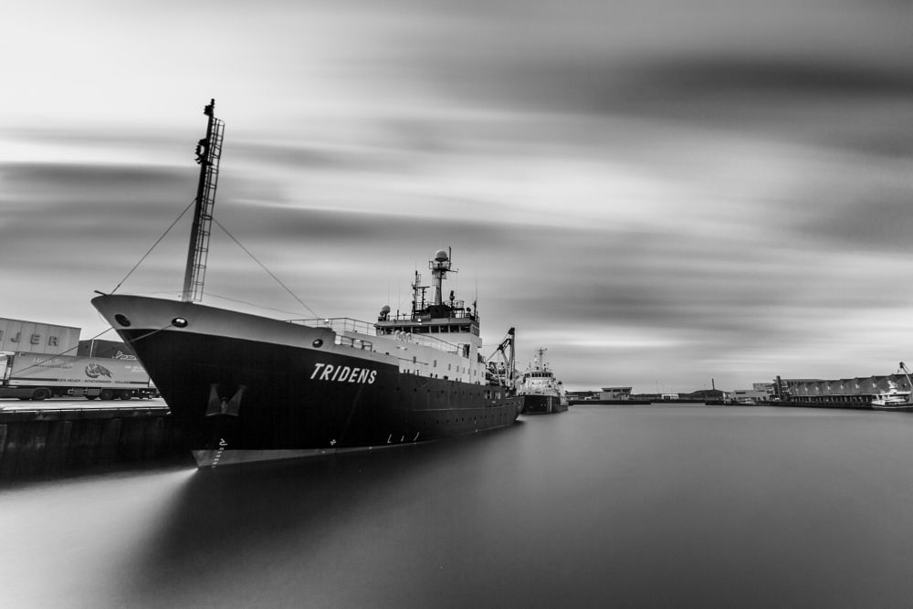 Photo in Random #boat #harbour #netherlands #long exposure #black and white #b&w