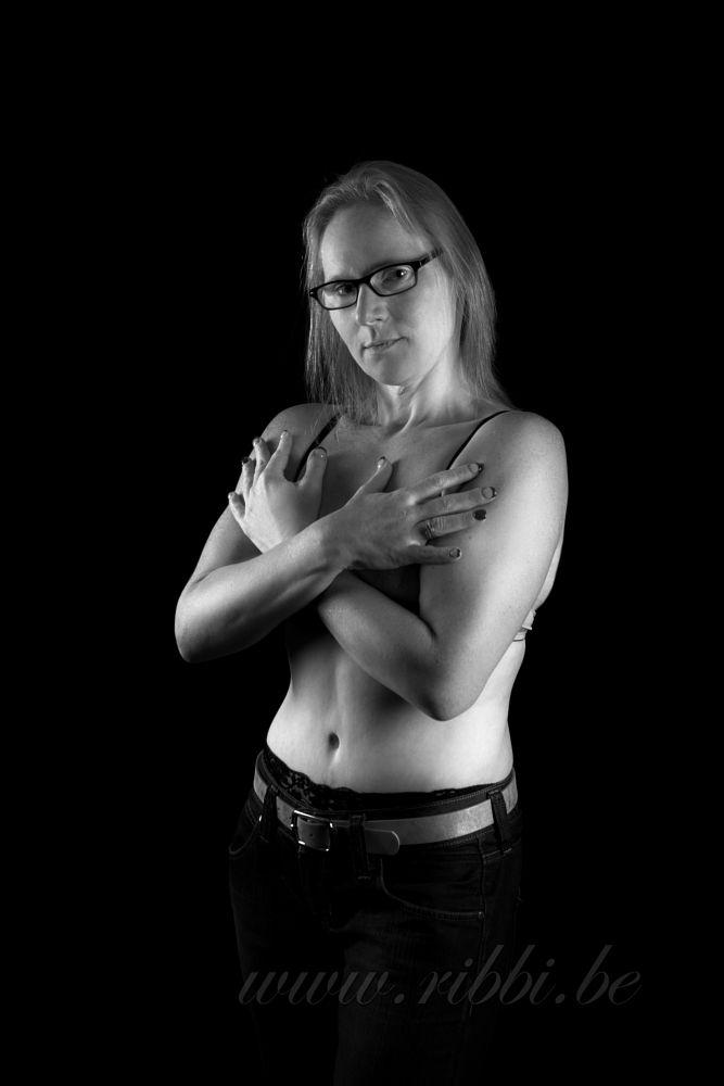 Photo in Fine Art #woman #sexy #black and white #studio #glasses