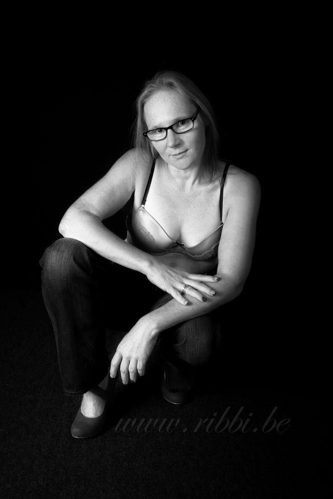 Photo in Fine Art #boudoir #sexy #woman #black and white #studio #glasses