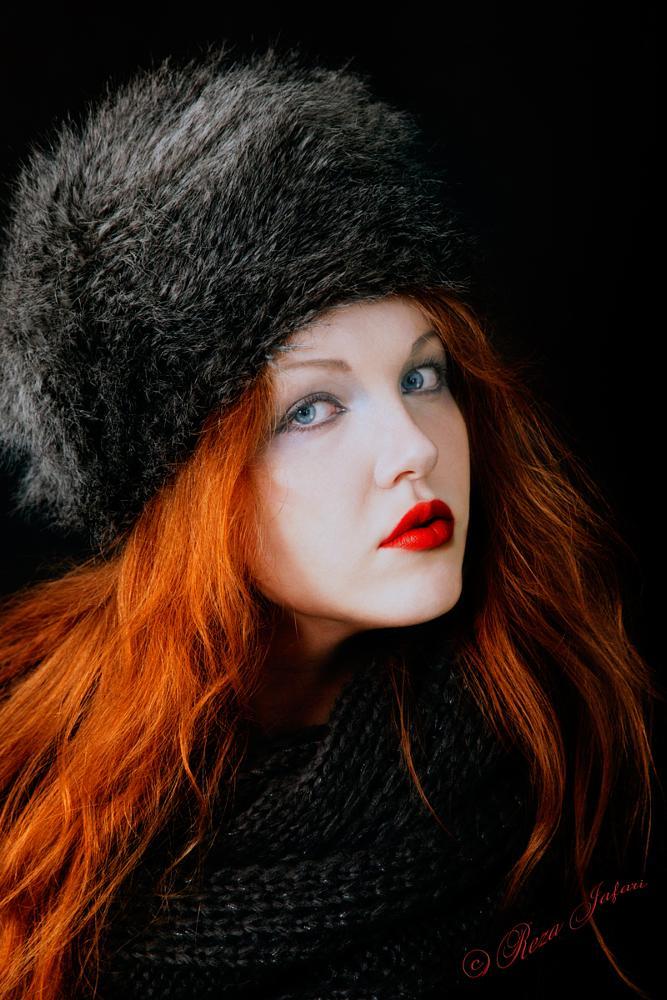 Photo in Fashion #close up #female #woman #studio #fashion #beauty #make up #lipstick #eyeliner #mascara #ginger #red head #scarf #fur hat #blue eyes #girl #portrait