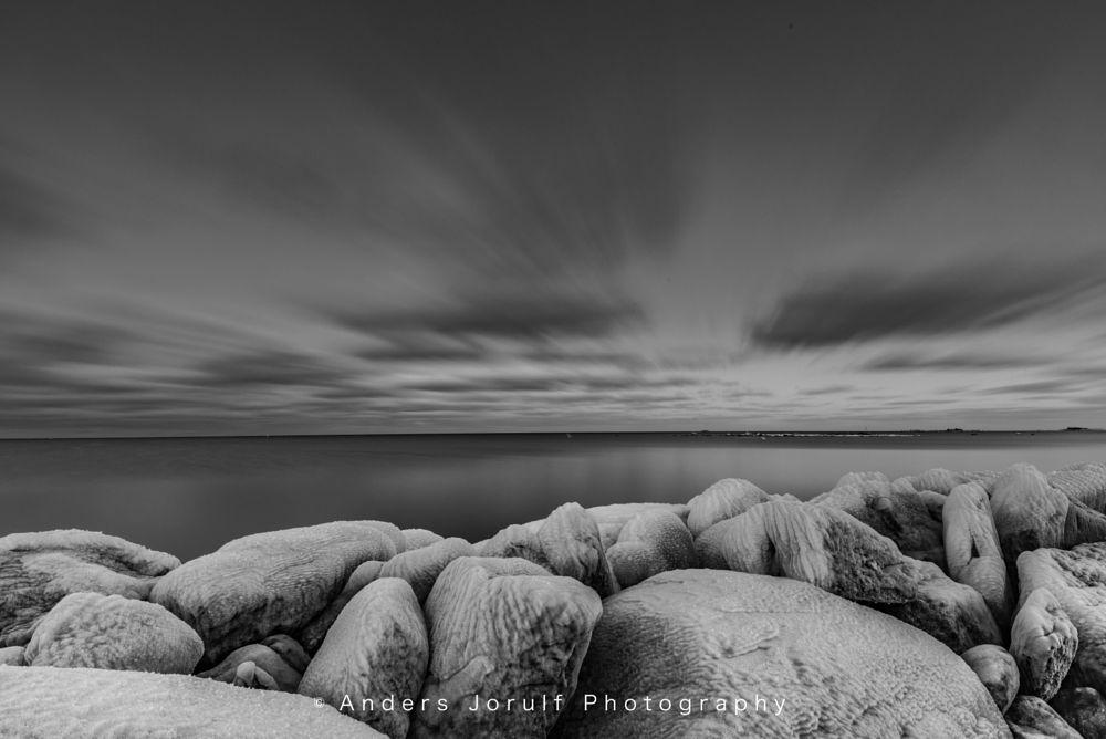 Photo in Landscape #replot #finland #vaasa #vasa #harbour #ice #baltic sea #winter #black and white #suomi #nikon #stones #frozen