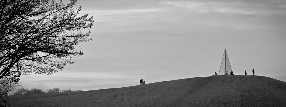 Photo in Black and White #milton keynes #campbell park #monument #art #people #mono