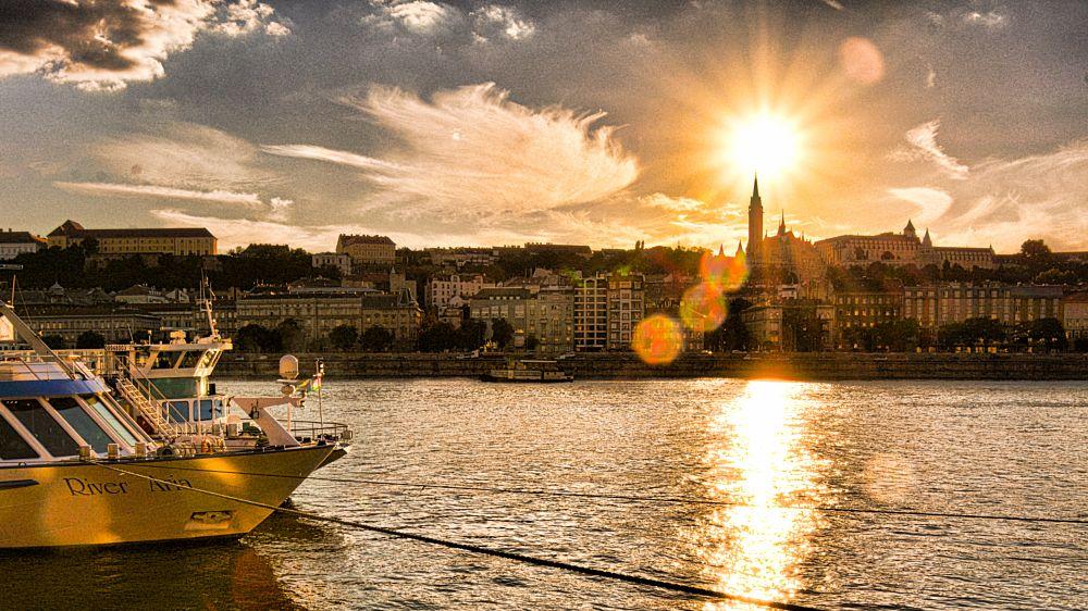 Photo in Cityscape #budapest #danube #fishermans bastion #sunset #river