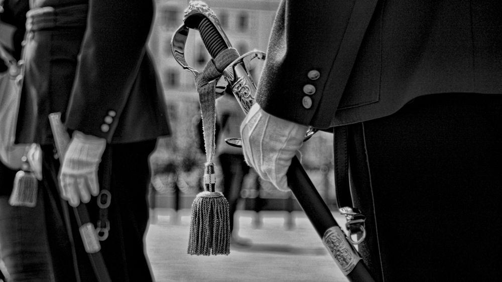 Photo in Black and White #ceremony #guard #uniform #sword