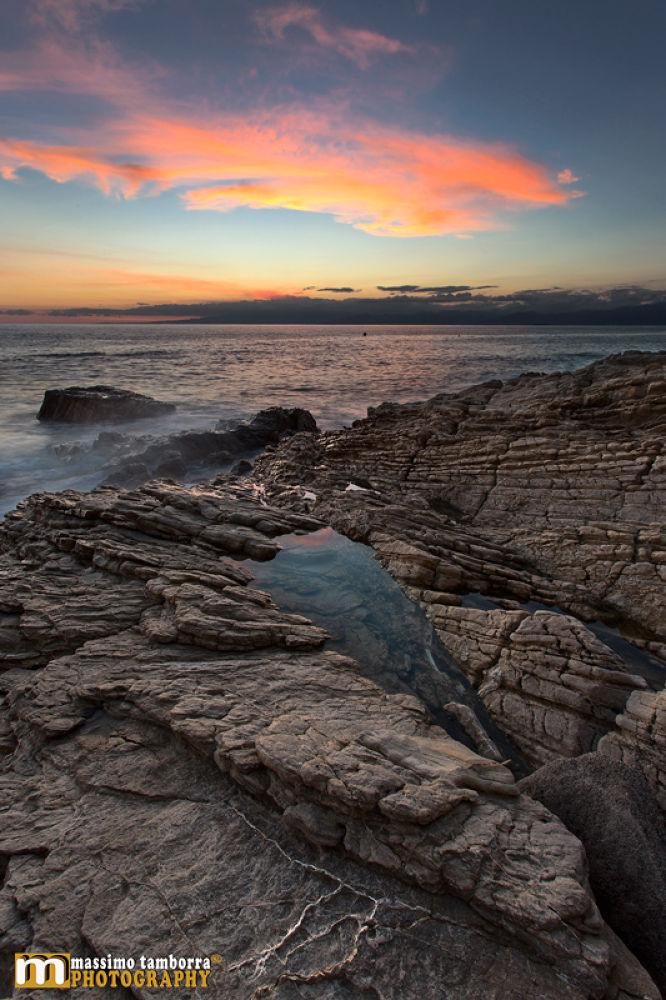 Photo in Landscape #www.massimotamborra.it #landscapes #seascape #nature #sun #sunset #italy #calabria #rock #reflex #sky #color