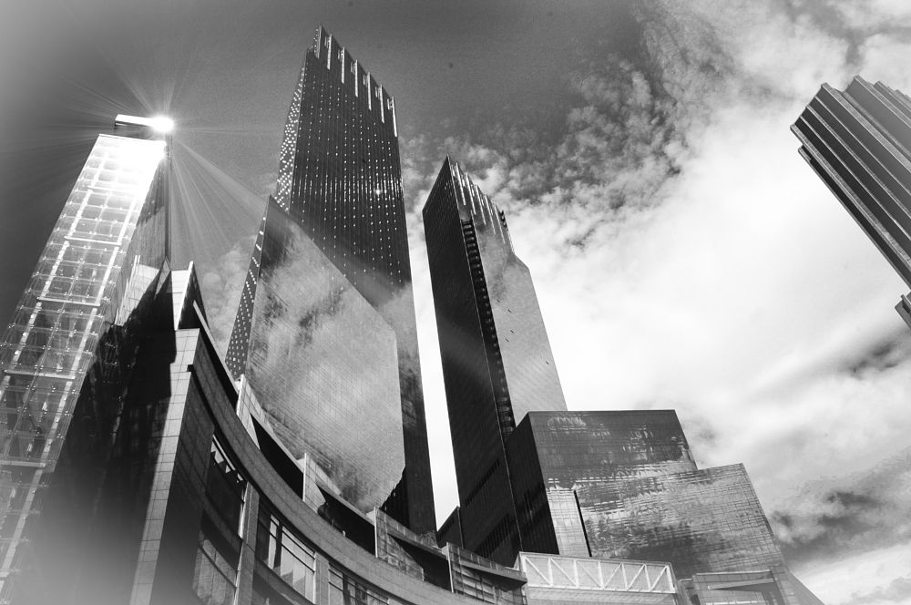 Photo in Cityscape #skyscrapers #city #buildings #columbus circle ny #b&w