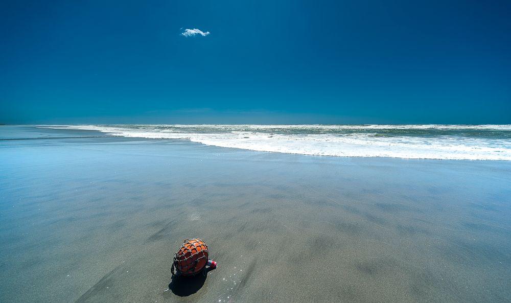 Photo in Landscape #buoy #sandybeach #waves #blue sky #cloud #秋 #typhoon passing away